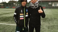 Tuấn Anh ghi bàn trong buổi tập thứ hai tại Nhật