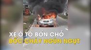 Xe hơi bốn chỗ bốc cháy ngùn ngụt khi đang chạy trên đường