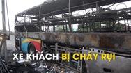 Xe khách giường nằm bị cháy rụi trên quốc lộ 1A