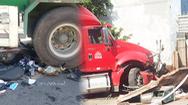 Video: Container lao qua đường, người đàn ông kịp nhảy khỏi xe máy, thoát nạn