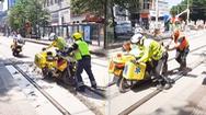 Video: Môtô cảnh sát chạy nhầm vào đường vừa đổ bê tông