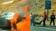 Video: Giải cứu 2 cụ già bị kẹt trong ôtô đang cháy ngùn ngụt sau va chạm