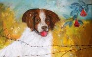Dễ thương khi họa sĩ Huế vẽ tranh chó nhân năm Mậu Tuất