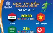 Lịch thi đấu Asian Cup ngày 8-1: tuyển Việt Nam xuất trận