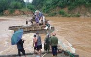 Cầu sập, dân liều mình lấy cây cau ghép lại để vượt sông
