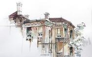 Ngắm trạm phát sóng Bạch Mai sắp bị dỡ bỏ qua ký họa đô thị Hà Nội