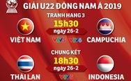 Lịch truyền hình Giải U22 Đông Nam Á 2019: U22 Việt Nam và Campuchia tranh hạng 3