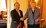 Nữ Thủ tướng Na Uy vui mừng gặp lại Thủ tướng Nguyễn Xuân Phúc