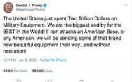 Ông Trump khoe 2.000 tỉ đô quân sự, thách thức Iran tấn công