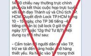 'Quyết định lock TP.HCM trong 10-15 ngày' là thông tin giả mạo