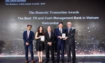 Vietcombank nhận giải dịch vụ ngoại hối và quản lý tiền mặt tốt nhất VN