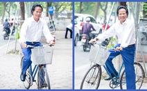 Xem ảnh Chế Linh đạp xe, uống trà vỉa hè trong tiết thu Hà Nội