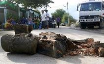 Dân mang gỗ, chậu bông chắn đường ngăn xe tải