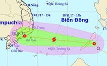 Áp thấp nhiệt đới di chuyển nhanh, hướng vào Nam Bộ