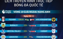 Lịch trực tiếp vòng 19 Premier League: Manchester City quyết gượng dậy