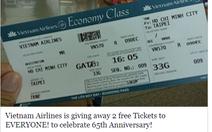 Vietnam Airlines khuyến cáo khách cảnh giác vụ tặng vé máy bay