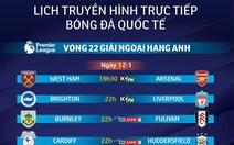 Lịch truyền hình vòng 22 Giải ngoại hạng Anh ngày 12-1