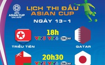 Lịch thi đấu Asian Cup 2019 ngày 13-1