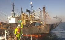 Nhảy khỏi tàu cá Hàn Quốc bốc cháy, thuyền viên người Việt mất tích