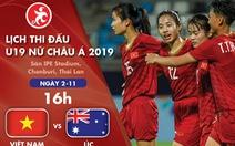 Lịch thi đấu Giải U19 nữ châu Á 2019: Việt Nam và Úc tranh vé vào bán kết