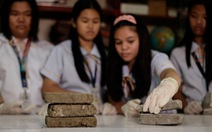 Học sinh Philippines biến phân chó thành gạch
