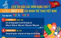 Lịch thi đấu của đoàn thể thao Việt Nam tại SEA Games 30 ngày 3-12