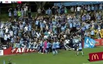Ăn mừng đến mức... sập hàng rào quảng cáo ở A-League