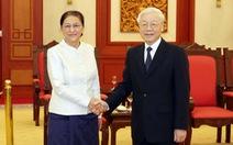Lãnh đạo cấp cao Việt Nam tiếp Chủ tịch Quốc hội Lào