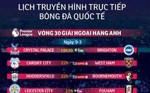 Lịch trực tiếp bóng đá ngày 9-3: M.C củng cố ngôi đầu