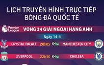 Lịch truyền hình bóng đá châu Âu 14-4: Đại chiến Liverpool - Chelsea
