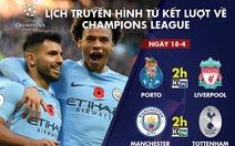 Lịch tuyền hình Porto - Liverpool, Manchester City - Tottenham