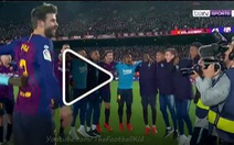 Video Messi và cầu thủ Barcelona tưng bừng ăn mừng ngôi vô địch La Liga