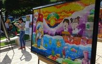 Tranh vẽ Hoàng Sa, Trường Sa của trẻ em trưng bày dọc biển Nha Trang
