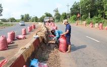 Lật xe container, dân Bình Phước giúp tài xế gom 32 tấn điều
