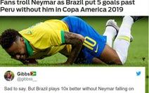 Đại thắng Peru, CĐV Brazil 'chọc quê' Neymar trên mạng xã hội