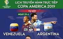 Lịch trực tiếp tứ kết Copa America: Venezuela thách thức Argentina