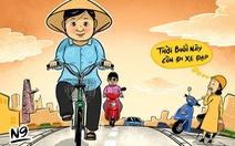 Giữa rừng xe máy có một bà già đạp xe cọc cạch...
