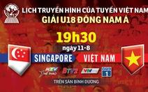 Lịch truyền hình U18 Việt Nam gặp Singapore ở Giải U18 Đông Nam Á 2019