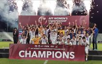 Cầu thủ nữ VN ăn mừng trong phòng thay đồ sau khi nhận cúp vô địch Đông Nam Á 2019