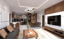 Căn hộ 3 phòng ngủ trở nên sang trọng, hiện đại hơn nhờ chất liệu gỗ tối màu