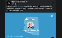 New York Times, CNN: ông Biden giành 11 phiếu đại cử tri ở Arizona