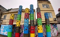 Nơi tập kết rác thải ven sông Hồng thành không gian nghệ thuật
