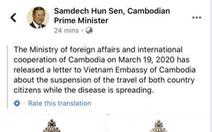 Campuchia tạm ngưng nhập cảnh người Việt Nam phòng COVID-19