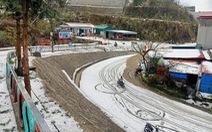 Mưa đá phủ trắng đường, sườn đồi ở Lai Châu