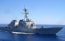 Tàu khu trục tên lửa dẫn đường USS Barry của Mỹ đi qua eo biển Đài Loan
