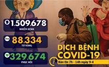 Dịch COVID-19 sáng 9-4: Toàn cầu vượt 1,5 triệu ca bệnh, các nước châu Âu kéo dài phong tỏa
