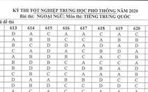 Đáp án môn tiếng Trung kỳ thi tốt nghiệp THPT 2020