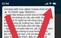 Không có chuyện TP.HCM cấm dân ra khỏi nhà từ 22h đến 5h sáng hôm sau