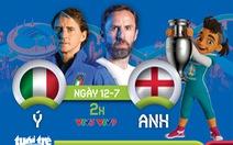 Lịch trực tiếp chung kết Euro 2020: Ý tranh chức vô địch với Anh