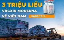Sáng 25-7: Thêm 3.973 ca COVID-19, 3 triệu liều vắc xin Moderna về đến Việt Nam
